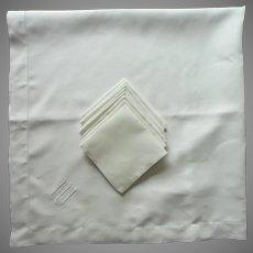 Monogram M Antique Linen Square Luncheon Tablecloth 8 Plain Napkins