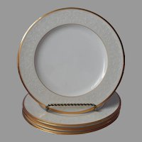 Noritake White Palace Gold Bone China 4 Salad Plates UNUSED