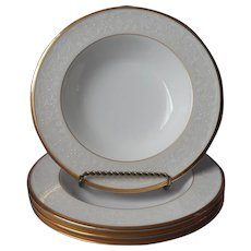 Noritake White Palace Gold Bone China 4 Soup Bowls UNUSED