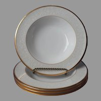 Noritake White Palace Gold Bone China 4 Soup Bowls UNUSED