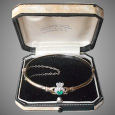 Claddagh Emerald Diamonds Hinged Bangle Bracelet Vintage Gold Filled Irish Made