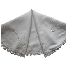 Round Antique Tablecloth 38 Inch Cutwork Crocheted Lace TLC