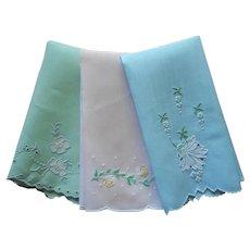 Fingertip Towels 3 Vintage Linen Hand Embroidery Pastel