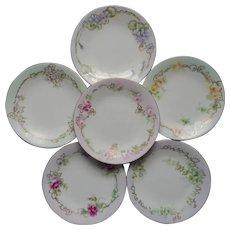 Antique Limoges Bread Plates hand Painted Ferns Flowers Pastel Set 6
