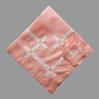 1920s Coral Pink Luncheon Tablecloth Square White Applique Napkins Set Vintage