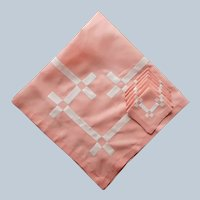 1920s Coral Pink Luncheon Tablecloth Square White Applique Napkins Set Vintage