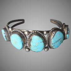 Sterling Silver Chunky Turquoise Native American Bracelet