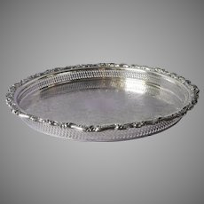 Gallery Rim Tray Vintage Silver Plated Ornate Rim Oneida Webster Wilcox