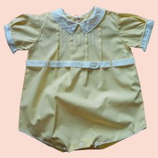 1940s Boy's Baby Romper One Piece Now Unisex Yellow Hand Embroidered