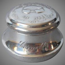 Name Cornell Engraved On Antique Collar Button Box Silver Plated Wedding Gift For Him