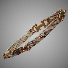 Victorian Revival Bracelet Vintage ca 1960 Mesh Narrow Faux Slide Embellishments