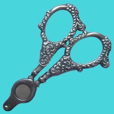 Cigar Cutter Sterling Silver Antique Scissor Form Cheroot