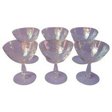 Fostoria Shell Pearl 6 Champagne Coupe Glasses Iridescent Cocktail Stemware Vintage