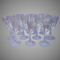 Fostoria Shell Pearl 10 Water Goblets Wine Glasses Iridescent Stemware Vintage
