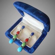 Native American C. Jones Sterling Silver Earrings Pierced Turquoise Lapis Gaspeite Coral