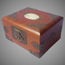 Vintage Chinese Small Wood Jewelry Box Carved Bone Brass Mounts