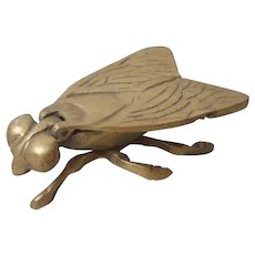 Brass Figural Fly Ashtray or Box Vintage Wings Lift