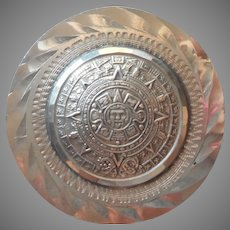 Sterling Aztec Mayan Calender Pin Pendant Mexico Vintage