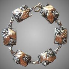 Sterling Gold Roses Leaves Silver Links Vintage Bracelet Needs Clasp