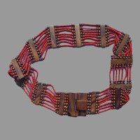 Monies Gerda Lynggaard Latch Buckle Belt Wood Orange Red Glass Beads