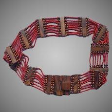 Monies Gerda Lynggaard Latch Buckle Belt Woos Orange Red Glass Beads