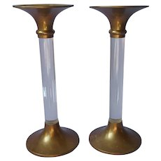 Brass Lucite Tall Candlesticks Vintage Pair Mid Century
