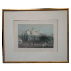 Washington D.C. Antique Lithograph Had Tinted Gilt Frame Lovely Colors