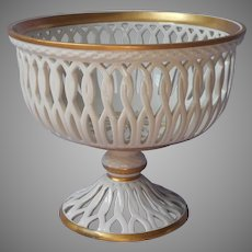Reticulated Basket Compote Italy Vintage Porcellane D'Arte Cream White Gold