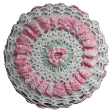 Trivet Hot Pad Vintage Crocheted Lace Pink White Green Kitchen