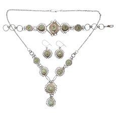 Wire Filigree Green Rhinestones Vintage Set Necklace Bracelet Pierced Earrings Silver Tone