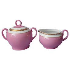 Pink Gold Czech Creamer Sugar Bowl w Lid Antique Victoria China