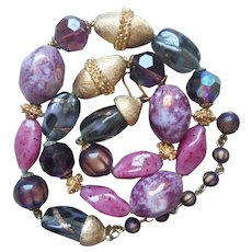 Trifari Art Glass Beads Necklace Vintage Plum Mauve Purple Pink