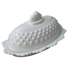 Butter Dish Fenton 3777 Milk Glass Hobnail Vintage