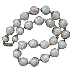 Murano Venetian Sommerso Glass Beads Necklace White Gold Vintage 1950s