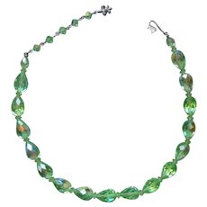 Vendome Crystal Necklace Light Green A.B. Finish Vintage Silver Tone