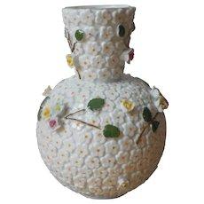 Elfin Ware Vase Vintage Porcelain All Over Applied Flowers Japan