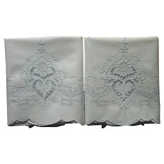 Pillowcases Vintage Cutwork Hand Embroidery Cotton Pair Unused Blue White
