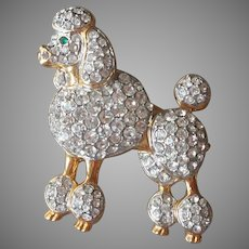 Poodle Pin Vintage Dog Rhinestone A Nice One