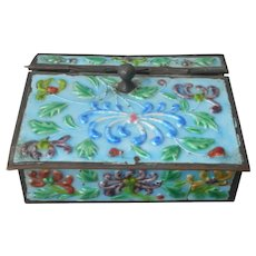 Chinese Enamel Box Vintage Turquoise Sky Blue TLC As Is