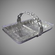 Rodney Kent Tulip Hammered Aluminum Relish Basket Glass Insert Vintage