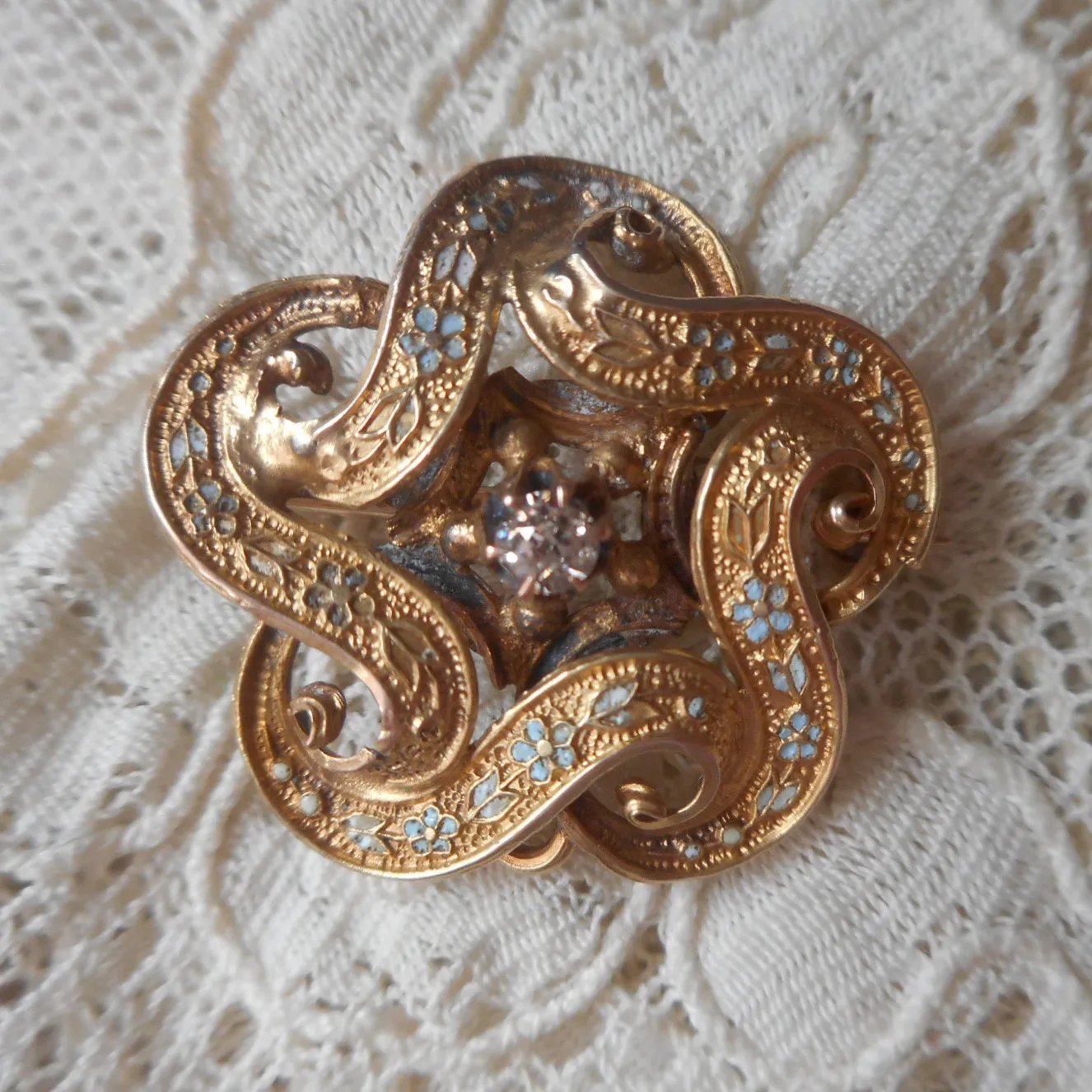 Victorian Forget Me Not Knot Pin Turquoise Enamel Antique