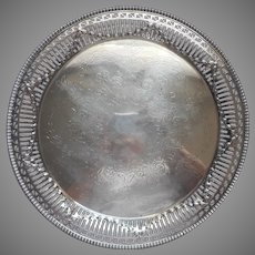 Antique English Tray Silver On Copper Ellis Barker Reticulated Garlands