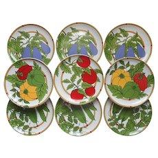 Bernarda Salad Plates Set Portugal Pottery Vivid Colors Veggies