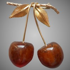 Amber Gold Filled Cherries Leaves Pin Vintage