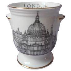 Tiny Cachepot Vintage Black White Gold Saint Paul's Cathedral London Souvenir