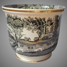 Copeland Spode's Italian Black Cachepot 6 Inch Vintage As Is