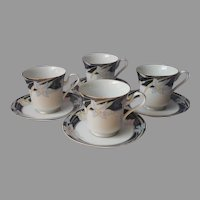 Mikasa Charisma Black 4 Footed Cups 4 Saucers