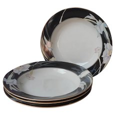 Mikasa Charisma Black 4 Rimmed Soup Bowls
