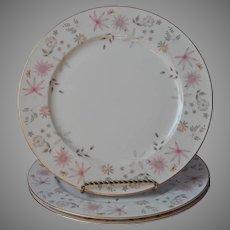 Sango Astral 3 Dinner Plates Vintage Pink Peach Flowers Mid Century