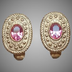 Pink Glass Stones Gold Tone Clip Earrings Vintage ca 1990